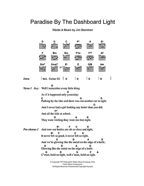 paradise testo paradise by the dashboard light sheet by loaf
