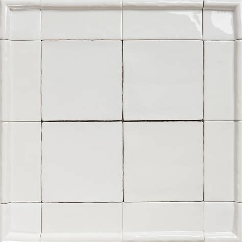 Handmade Tiles Australia - handmade natura white gloss tiles with border eco tile