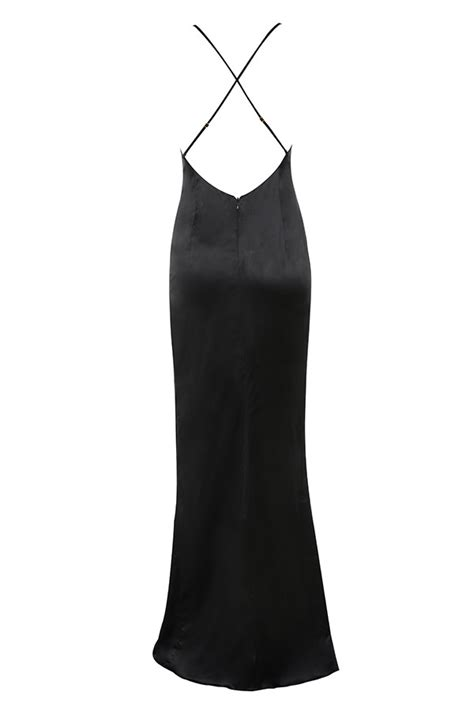 Dress Fairus by Clothing Max Dresses Fairuz Black Draped Satin Maxi Gown