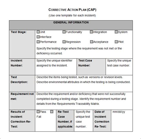 corrective action plan template 23 free word excel pdf