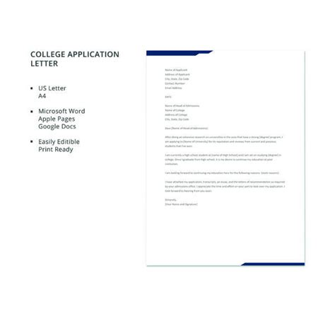 sample college application letter templates