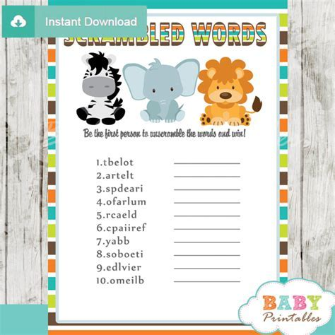 Jungle Theme Baby Shower Games Package ? D134