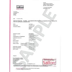 Confirmation Letter For Graduation Academic Confirmation Letter Of Salford