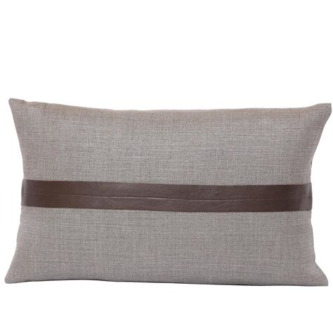 Leather Pillows For Sale by Set Of Two Gray Linen And Brown Leather