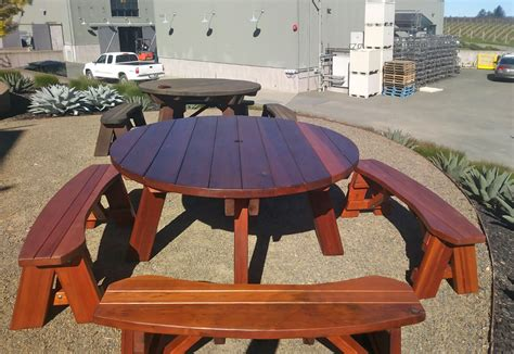 Round Wooden Picnic Table With Detached Benches