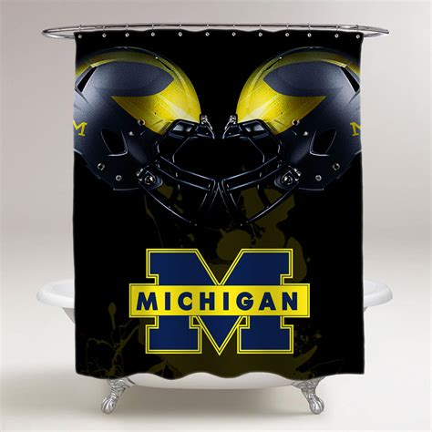 Michigan Wolverines Ncaa College Football Bathroom Shower Clear Shower Curtain With Design