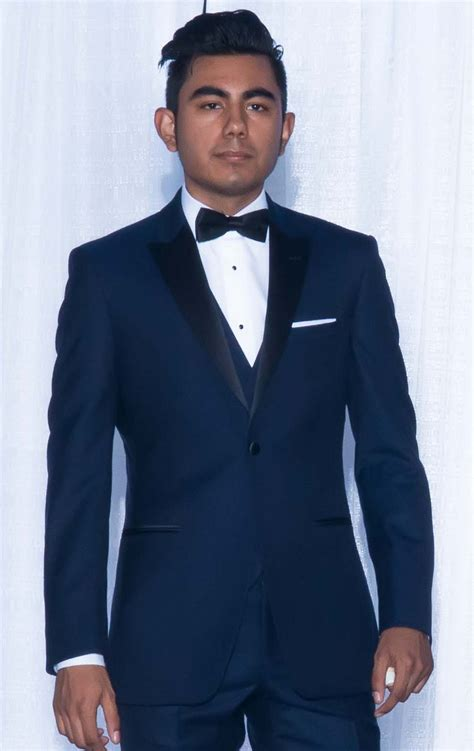 navy tuxedo with matching vest and bow