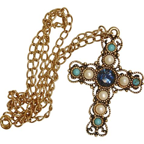 vintage emmons jeweled cross pendant and chain necklace