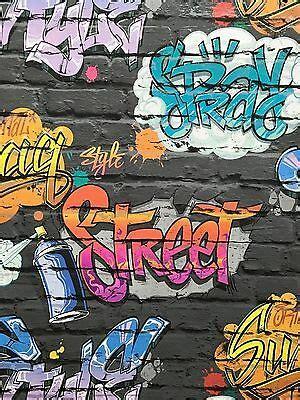 graffiti wallpaper teenage kids black brick wall quality