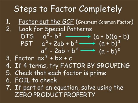 10 Factors To Consider When Looking For A Pet by Algebra 10 8 Factoring Completely Ppt