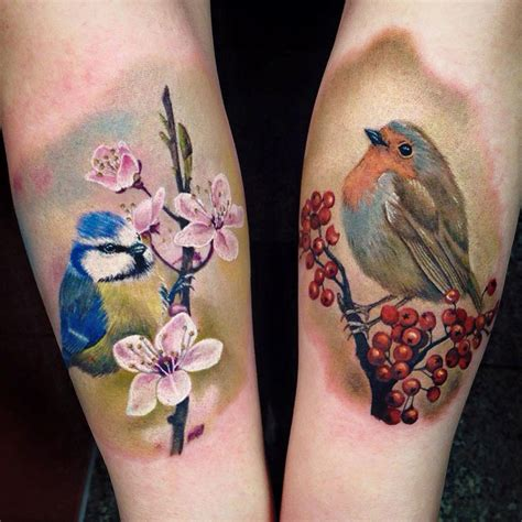 blue amp robin on forearms best tattoo design ideas