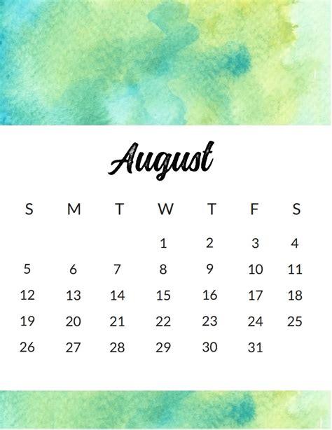 august 2018 calendar watercolor wall monthly calendar 2018 calendar 2018