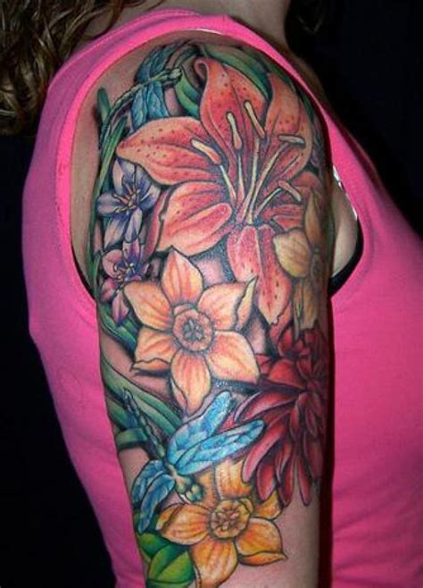 lily sleeve tattoo designs hawaiian flower tattoos on shoulder japanese flower