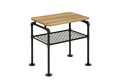 industrial style end tables furniture of america tiegan industrial style end table