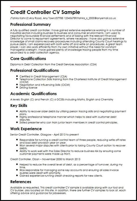 Credit Controller Resume by Credit Controller Cv Sle Myperfectcv