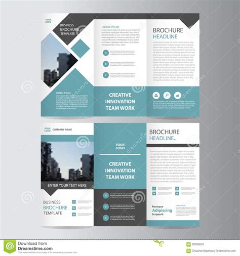leaflet design layout blue black trifold leaflet brochure flyer template design