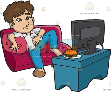 couch potato tv show a lazy man eating and watching tv all day cartoon clipart