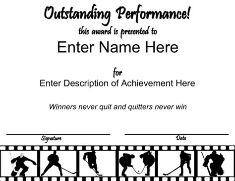 hockey certificate templates out standing hockey certificate for free
