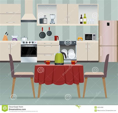 Modern Dining Room Set kitchen interior poster stock vector image 45914390