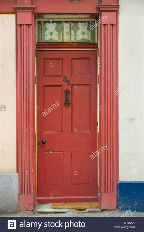 Front Door Letterboxes Scruffy Wooden Paneled Front Door No 88 With Letterbox And Knob Stock Photo Royalty Free