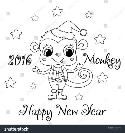 new year monkey coloring monkey stock vector