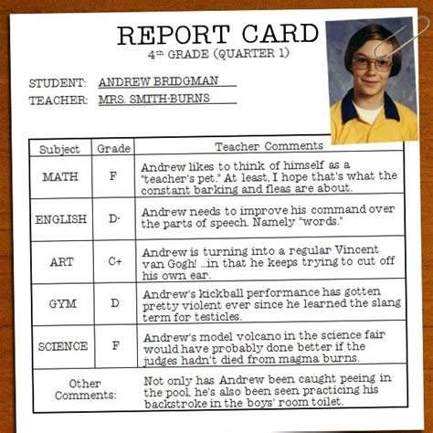 Worst Report Card Comments