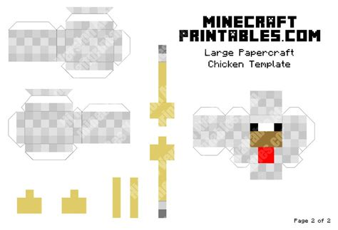 Minecraft Papercraft Chicken - chicken printable minecraft chicken papercraft template