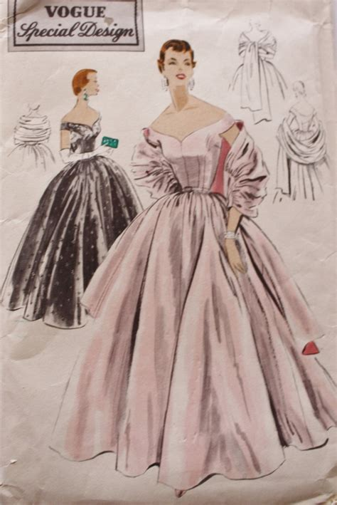 sewing pattern evening gown 1950s vogue s 4465 evening gown sewing pattern off the