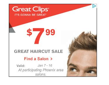 haircut coupons in phoenix great clips 7 99 haircut sale phoenix locations