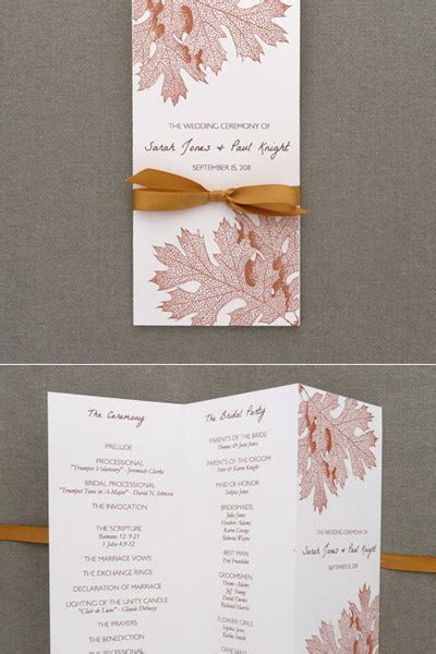 Program Template Tri Fold Fall Leaves Download Print Free Tri Fold Wedding Brochure Templates
