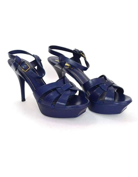 yves laurent strappy sandals yves laurent ysl navy leather tribute 75 strappy