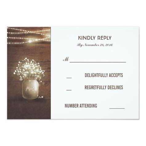 Wedding Rsvp Cards by Rustic Baby S Breath Jar Wedding Rsvp Cards Zazzle