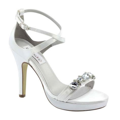 dyeable white satin rhinestone prom bridal high heel
