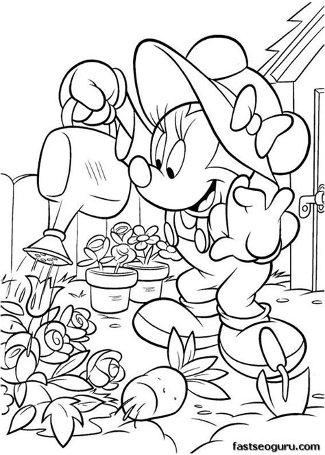 printable coloring pages garden printable minnie mouse working in the garden coloring page