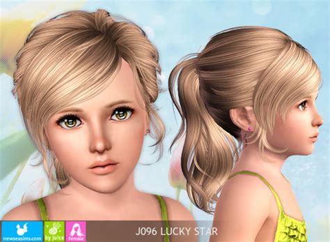 ponytailsims 4 child up ponytail hairstyle j096 lucky star sims 3 hairs