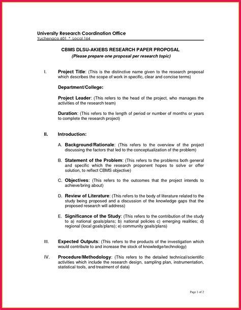 proposal format for research project research paper proposal sle sop exles