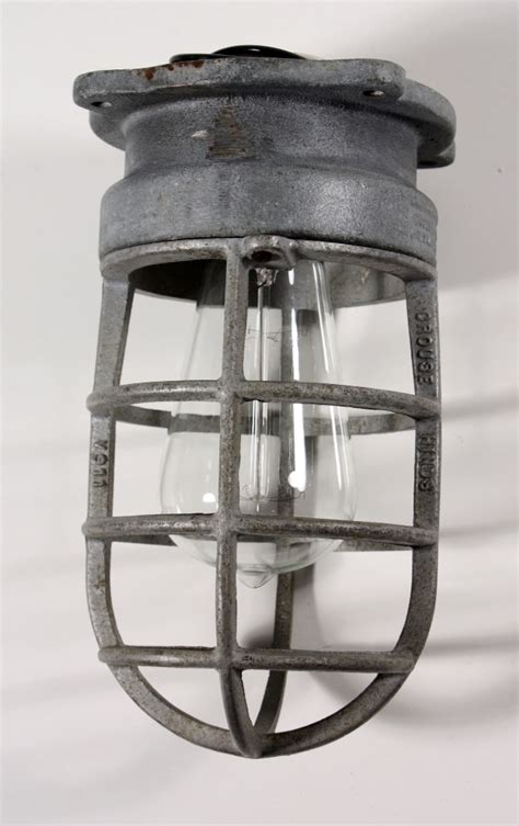 Cage Lighting Fixtures Antique Industrial Cage Light Fixture For Wall Or Ceiling Signed Crouse Hinds Nc1031 For Sale