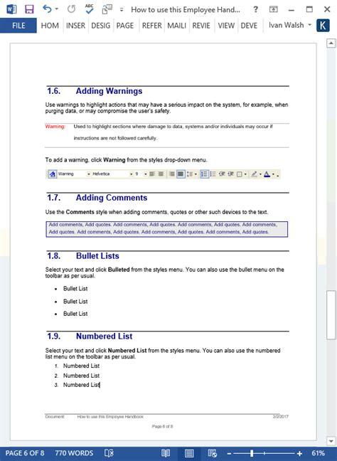 Employee Handbook Template Ms Word 140 Sle Topics Auto Repair Employee Handbook Template
