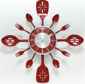 Fleur De Lis Vases Kitchen Utensil Red Stainless Steel Wall Clock