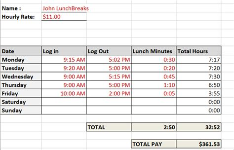 Need A Timesheet Template To Track Your Hours Here Are 12 Excel Timesheet Template With Lunch
