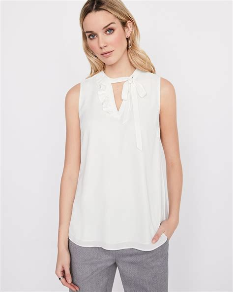Blouse Jumbo 111 Nm sleeveless silky crepe blouse with ruffles and tie rw co