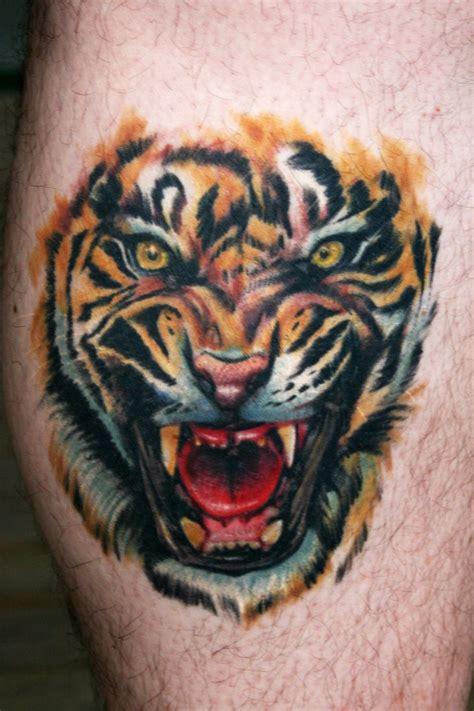 tiger tattoo photo gallery roaring tiger tattoo on leg tattooimages biz