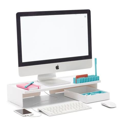 Desk Screen Accessories White Monitor Riser Desk Accessories Organization Poppin Shops The O Jays And Desks