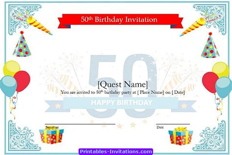 free templates for awesome 50th birthday cards free printable invitations of cool 50th birthday