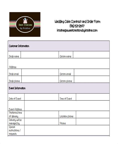10 Cake Order Forms Free Sles Exles Format Download Free Premium Templates Cake Pop Order Form Template Free