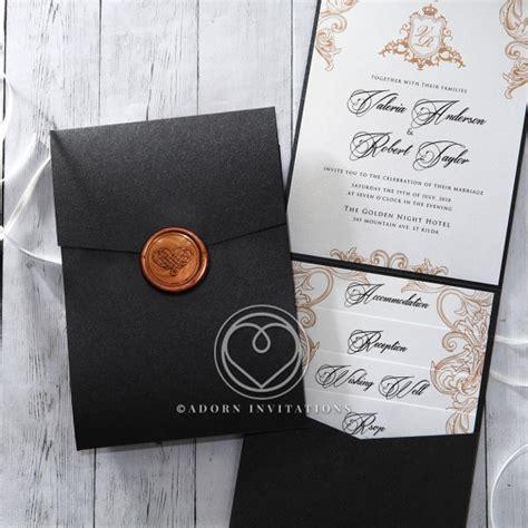 Pocket Invitations by Charcoal Black Pocket Invitation Monogrammed Seal