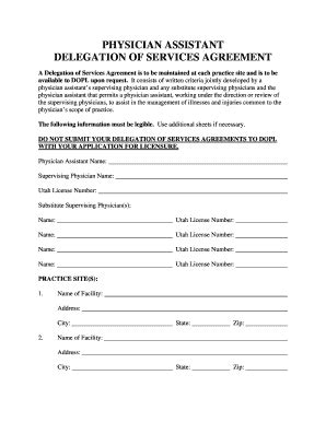 delegation of service agreement for physician assistant in