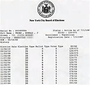 Voting Records New York Donald Did Not Vote In A Primary Election For 21 Years Records Show Daily