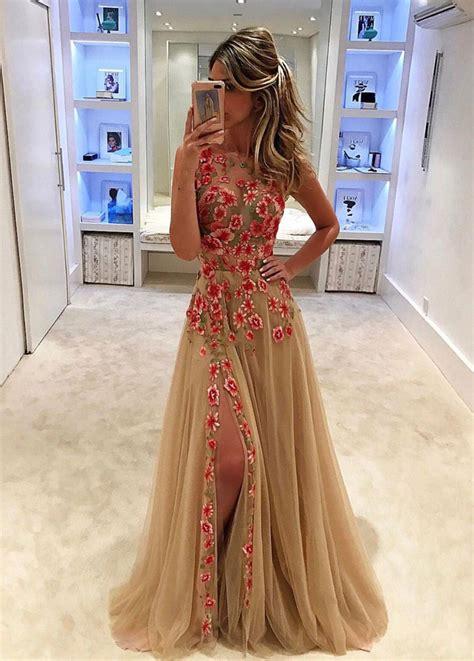 Flower Slit Dress high slit prom dress prom dresses prom dress