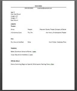 pin acting resume beginner on